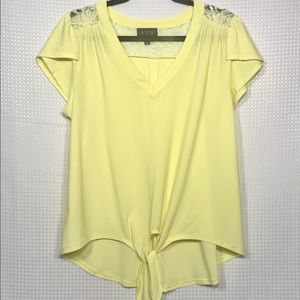 Cute Yellow Front Tie V Neck Short Sleeve Shirt L
